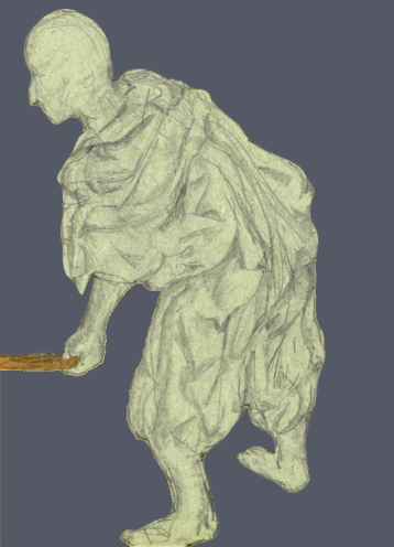 Tinted drawing of draped worker